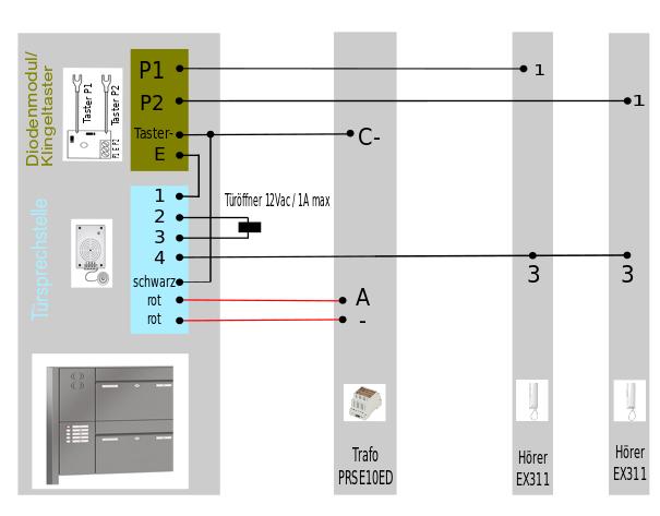 Schaltplan Briefkastensprechanlage zum Einbauen hinter Sprechgitter
