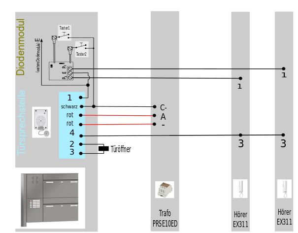 Einbau Sprechanlage für Briefkasten und Fremdgehäuse 2 DRAHT Türsprechanlage
