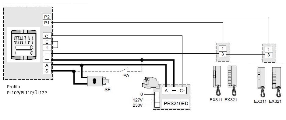 Schaltplan 2 draht Türsprechanlage Profilo als Wechselsprechanalge mit Haustelefon